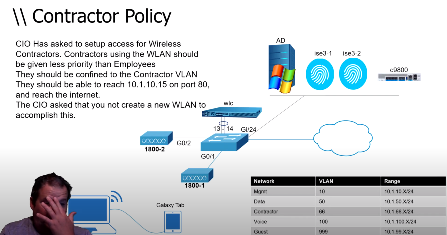 Cisco ISE v3 Lessons – Wireless Contractor policy AAA Override, Background QoS, ACL